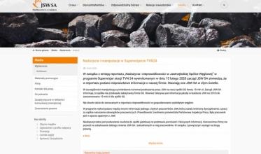 Oficjalne stanowisko JSW: Będą kroki prawne wobec TVN
